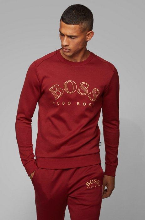 Sweatshirt aus Baumwoll-Mix mit geschwungener Logo-Stickerei, Rot