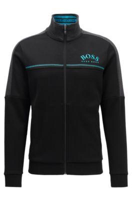 Regular-fit sweatshirt met gebogen logo, Zwart