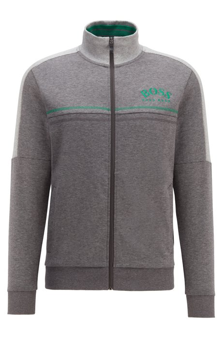 Regular-fit sweatshirt with curved logo, Grey