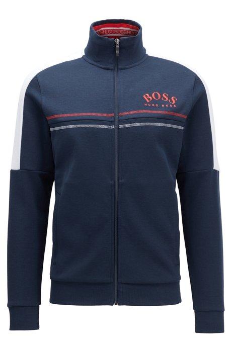 Regular-fit sweatshirt met gebogen logo, Donkerblauw