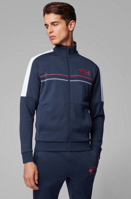 Felpa regular fit con logo curvo, Blu scuro