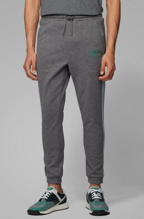 Slim-fit jogging trousers with curved logo, Grey