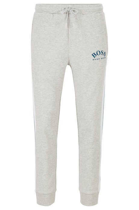 Slim-fit jogging trousers with curved logo, Light Grey