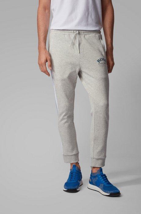Pantalon de survêtement Slim Fit à logo incurvé, Gris chiné