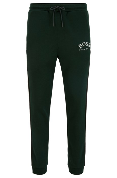 Slim-fit jogging trousers with curved logo, Open Green