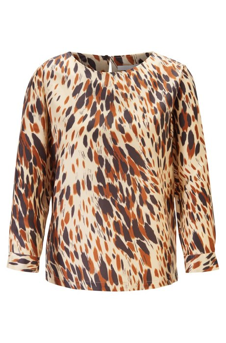Animal-print top in lustrous Italian twill, Patterned