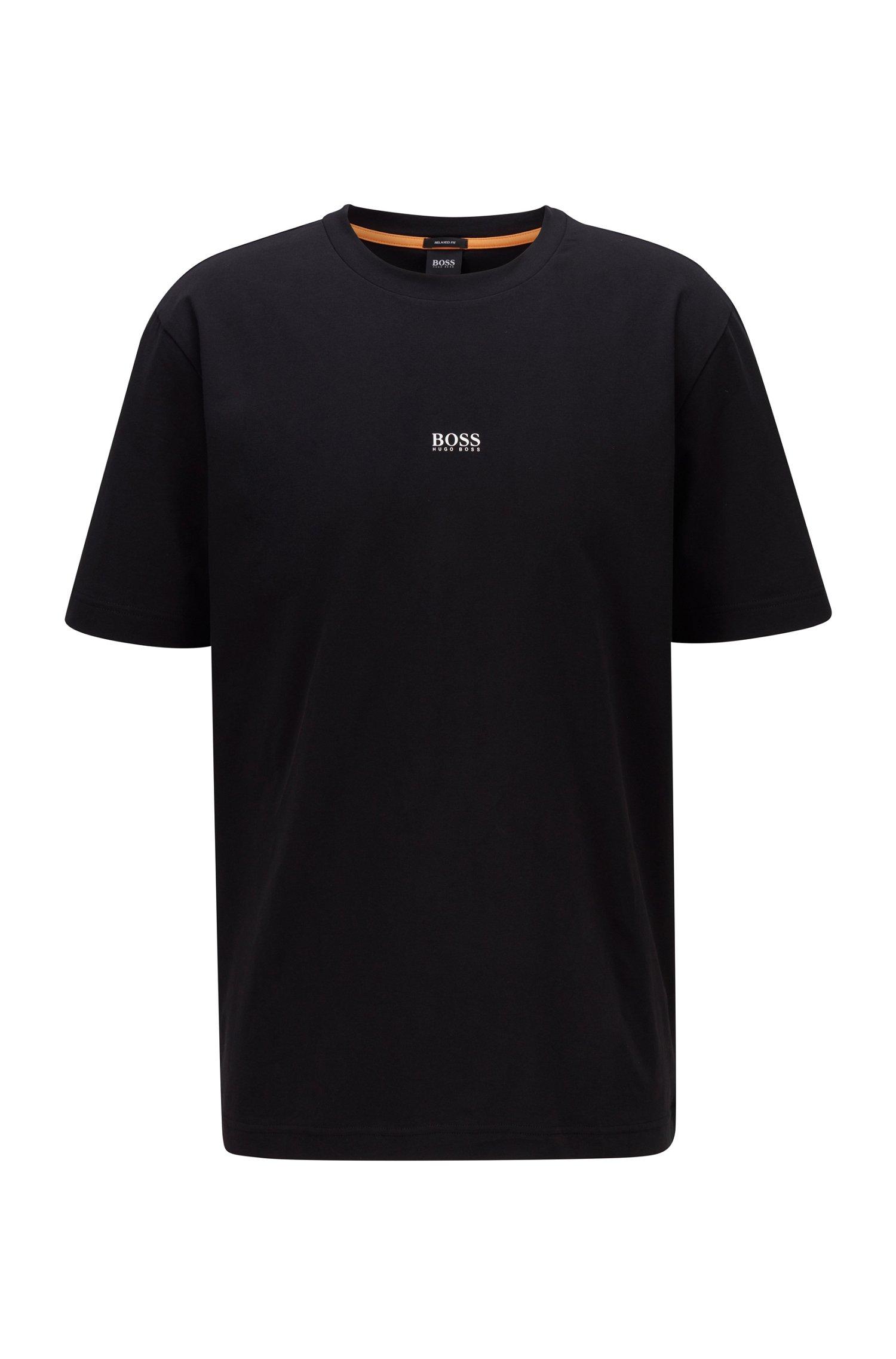 T-shirt Relaxed Fit en coton stretch, à logo superposé, Noir