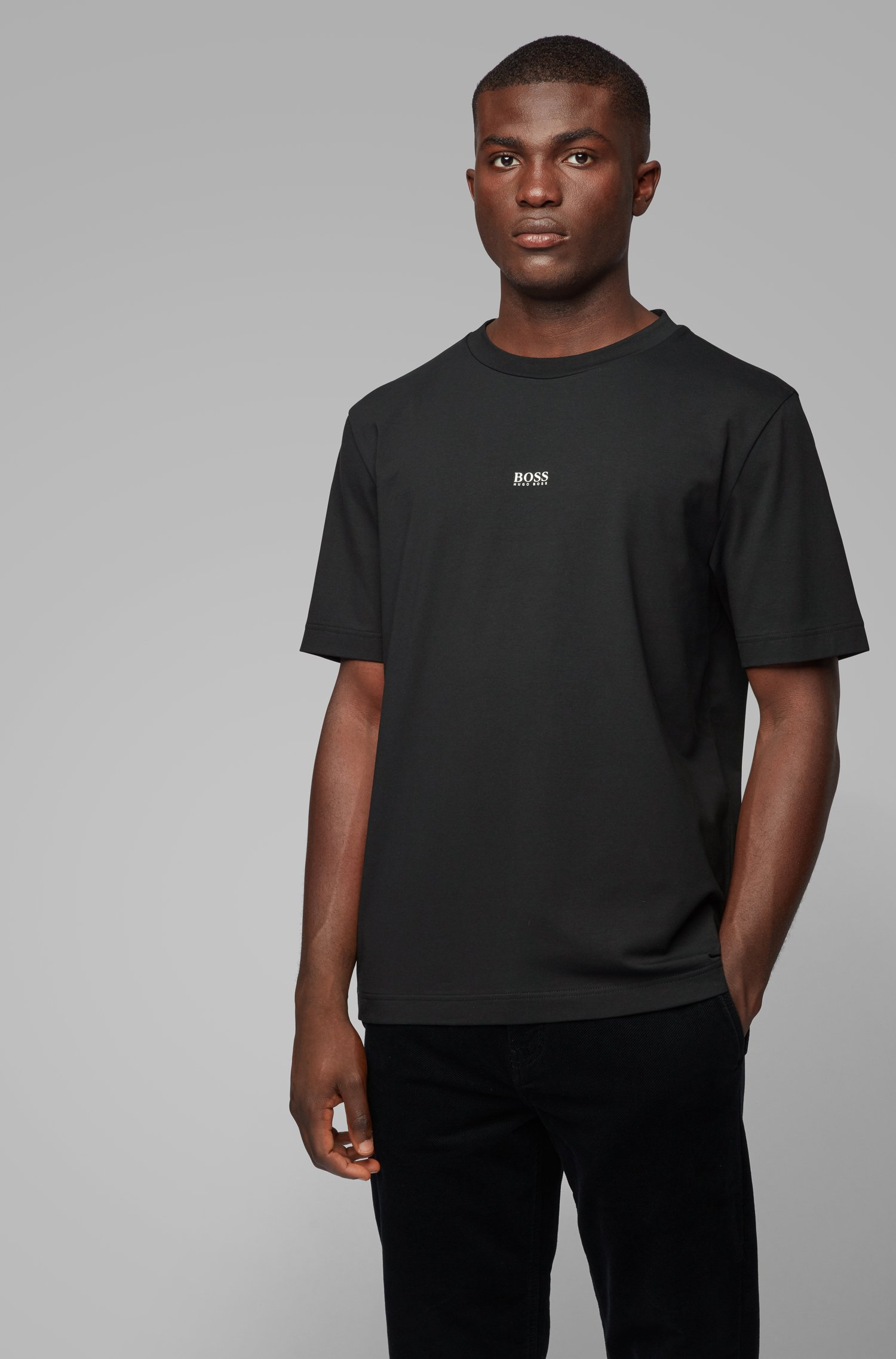 Relaxed-fit T-shirt in stretch cotton with layered logo, Black