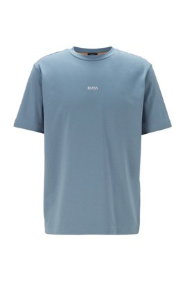 Relaxed-fit T-shirt in stretch cotton with layered logo, Dark Grey