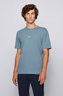 Relaxed-fit T-shirt van stretchkatoen met gelaagd logo, Donkergrijs