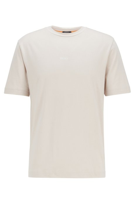 Relaxed-fit T-shirt in stretch cotton with layered logo, Light Grey