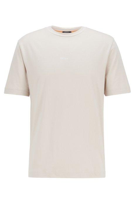 T-Shirt aus Stretch-Baumwolle mit Logo, Hellgrau