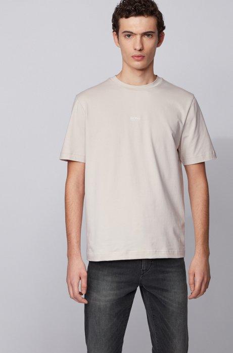 T-shirt Relaxed Fit en coton stretch, à logo superposé, Gris chiné