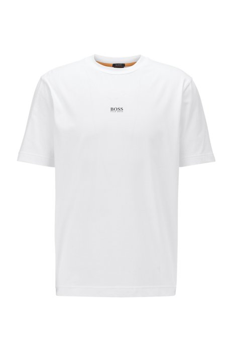 Relaxed-fit T-shirt in stretch cotton with layered logo, White
