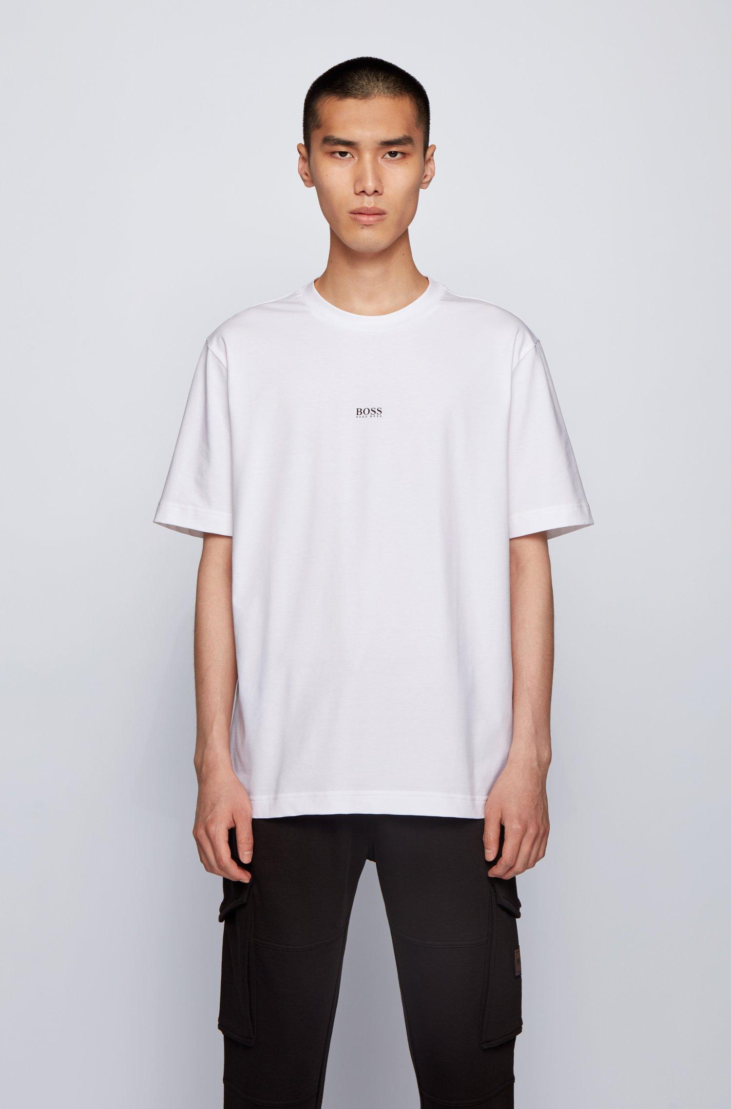 リラックスフィット Tシャツ ストレッチコットン 多層ロゴ, ホワイト