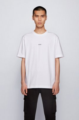 T-shirt Relaxed Fit en coton stretch, à logo superposé, Blanc