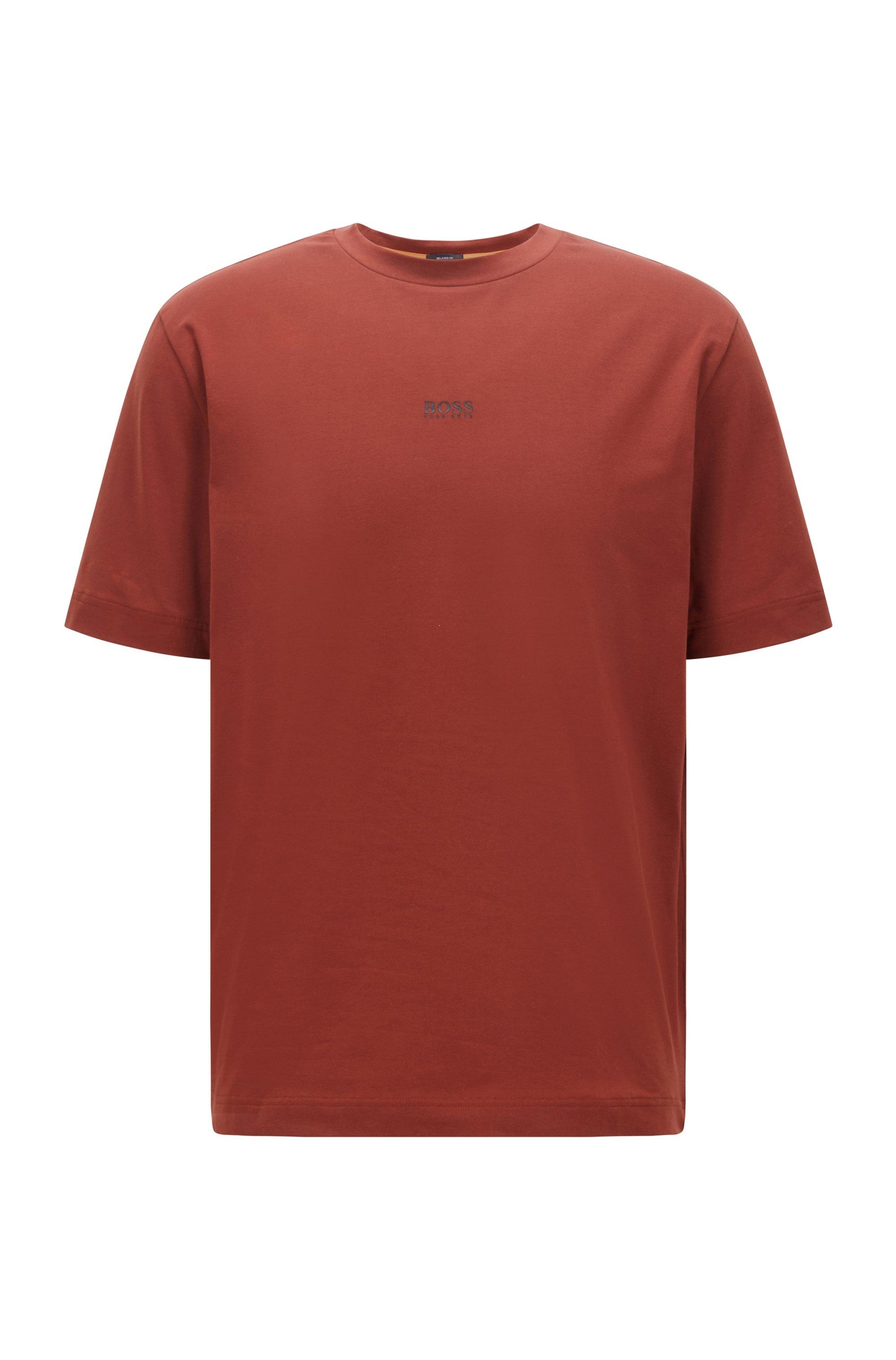 T-shirt Relaxed Fit en coton stretch, à logo superposé, Marron