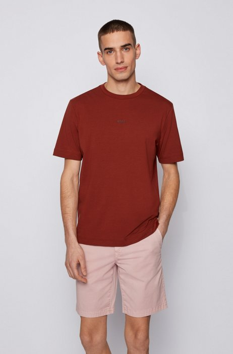 Relaxed-fit T-shirt in stretch cotton with layered logo, Brown