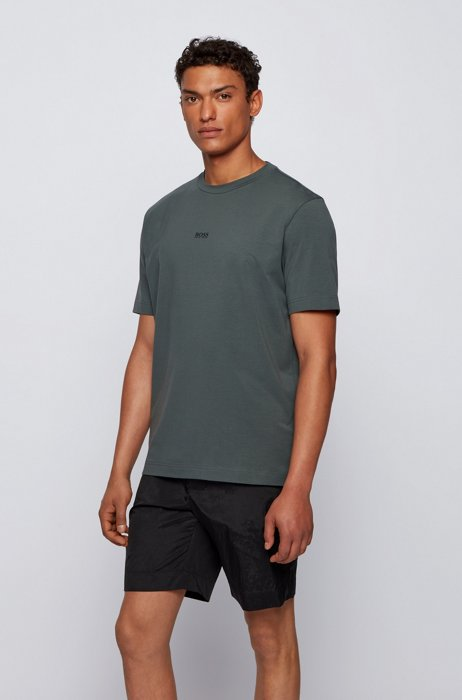 Relaxed-fit T-shirt in stretch cotton with layered logo, Dark Green
