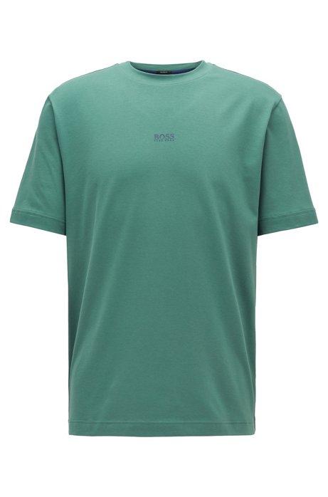 T-Shirt aus Stretch-Baumwolle mit Logo, Grün