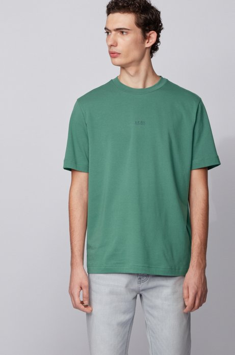 Relaxed-fit T-shirt in stretch cotton with layered logo, Green