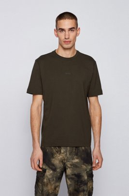 Relaxed-fit T-shirt in stretch cotton with layered logo, Khaki