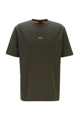 Relaxed-fit T-shirt in stretch cotton with layered logo, Light Green