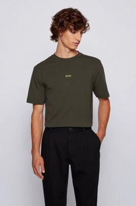 T-Shirt aus Stretch-Baumwolle mit Logo, Hellgrün