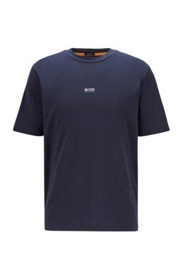 T-shirt Relaxed Fit en coton stretch, à logo superposé, Bleu foncé