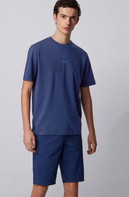 T-shirt Relaxed Fit en coton stretch, à logo superposé, Bleu foncé