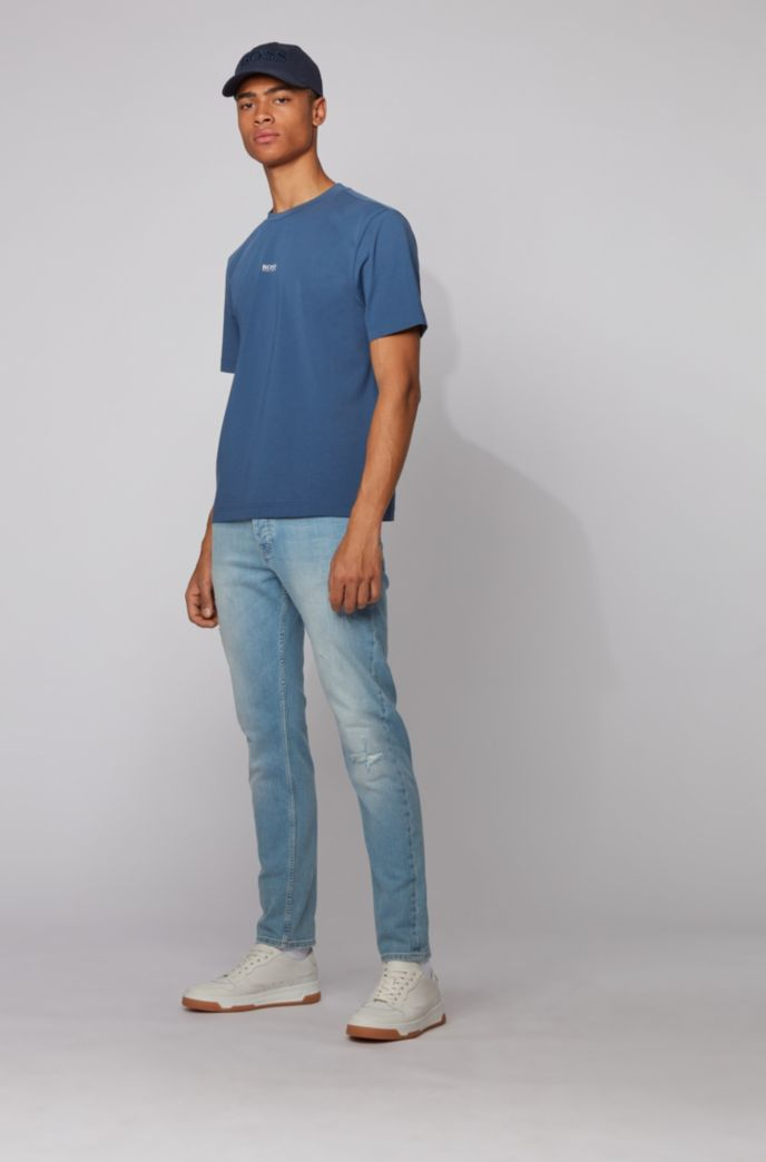 Relaxed-fit T-shirt in stretch cotton with layered logo