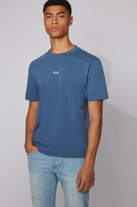 T-Shirt aus Stretch-Baumwolle mit Logo, Dunkelblau