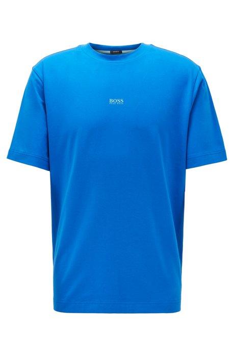 T-shirt Relaxed Fit en coton stretch, à logo superposé, Bleu
