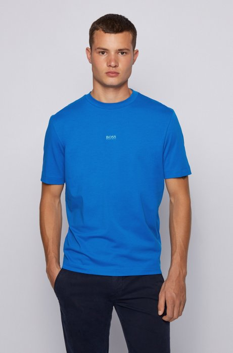 Relaxed-fit T-shirt in stretch cotton with layered logo, Blue