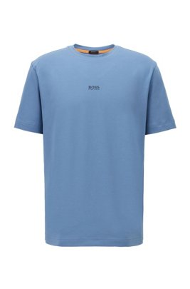 T-shirt Relaxed Fit en coton stretch, à logo superposé, bleu clair
