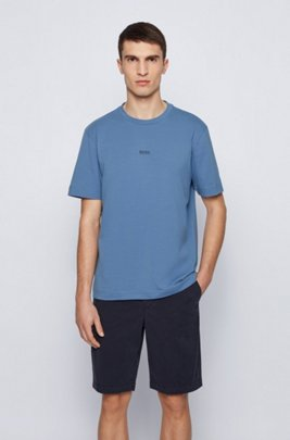 Relaxed-fit T-shirt in stretch cotton with layered logo, Light Blue
