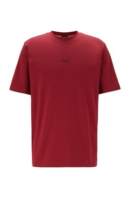 T-shirt Relaxed Fit en coton stretch, à logo superposé, Rouge sombre