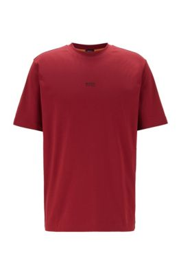 T-shirt Relaxed Fit en coton stretch, à logo superposé, Rouge sombre