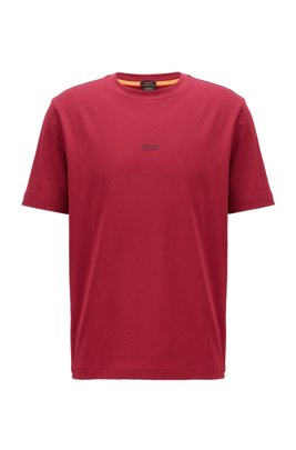 Relaxed-fit T-shirt in stretch cotton with layered logo, Dark Red