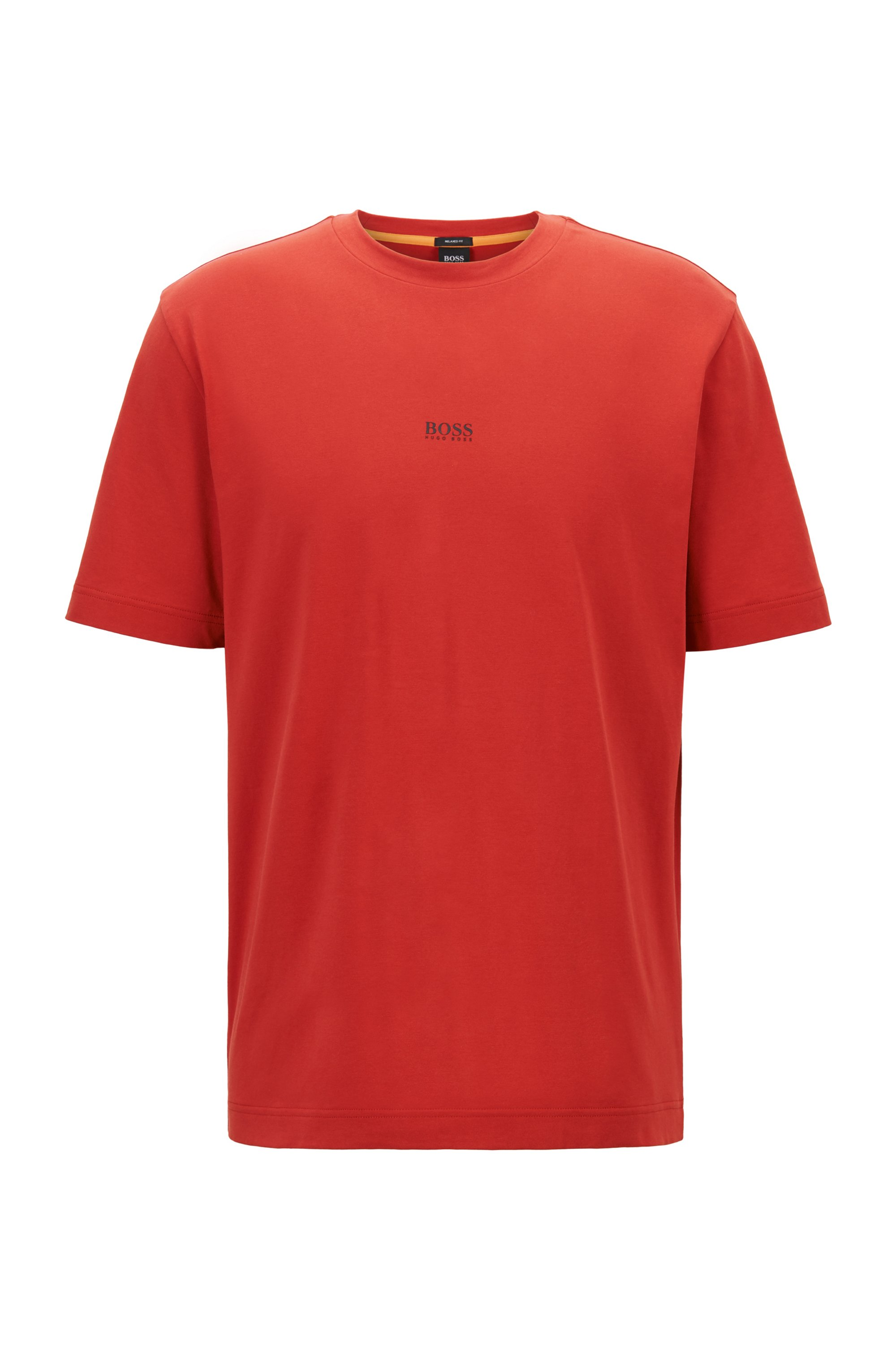 Relaxed-fit T-shirt in stretch cotton with layered logo, Red