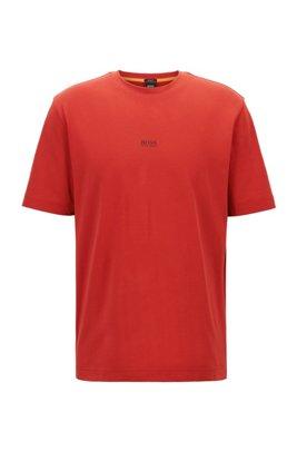 リラックスフィット Tシャツ ストレッチコットン 多層ロゴ, レッド
