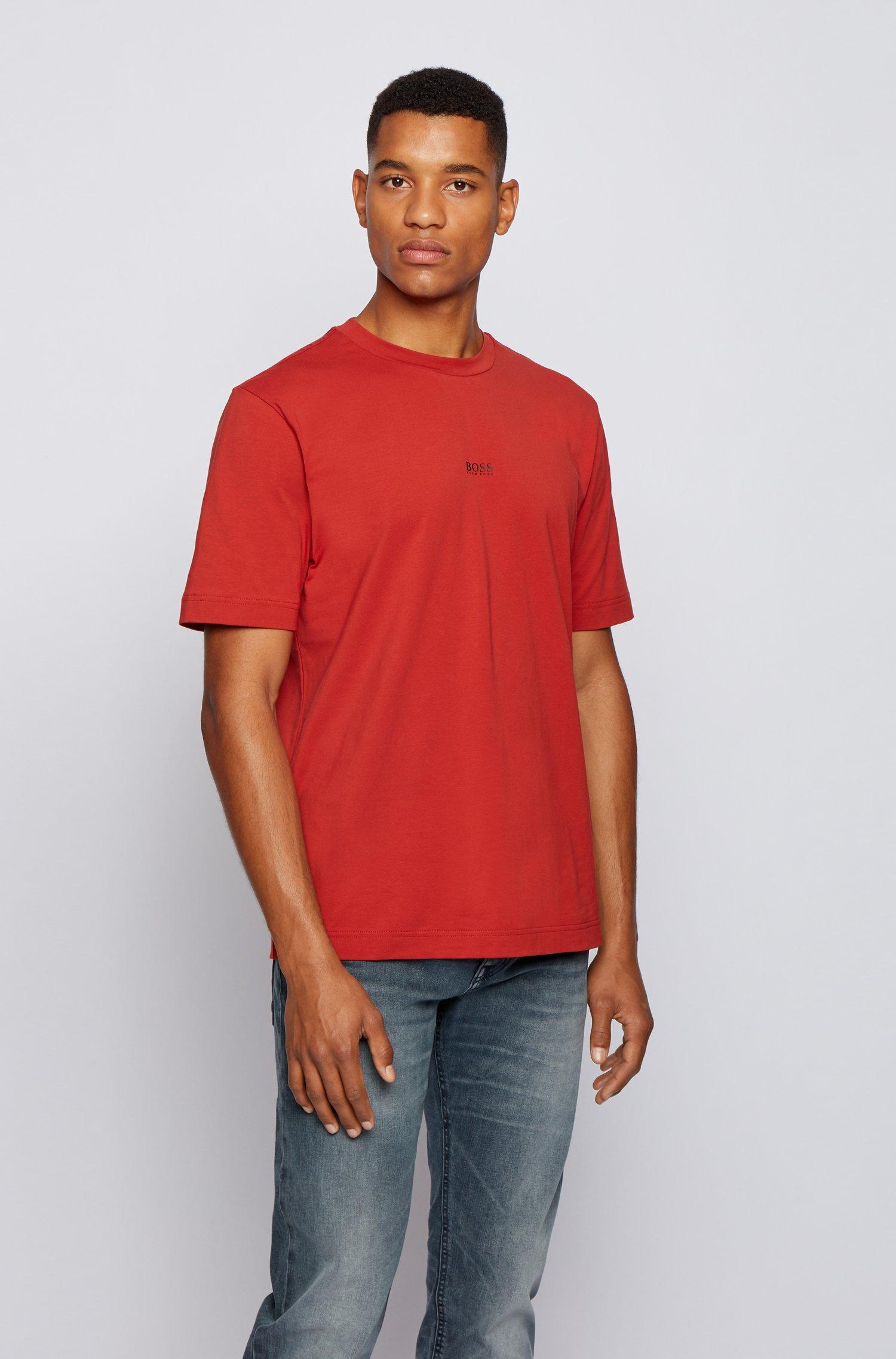 T-shirt Relaxed Fit en coton stretch, à logo superposé, Rouge