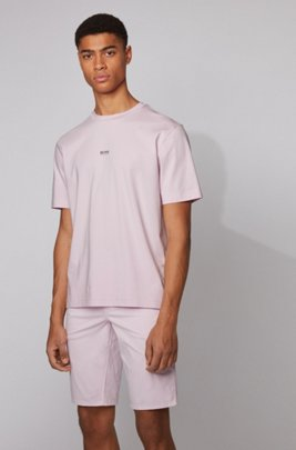 Relaxed-fit T-shirt in stretch cotton with layered logo, Dark pink