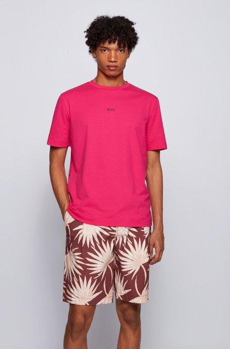 Relaxed-fit T-shirt in stretch cotton with layered logo, Pink