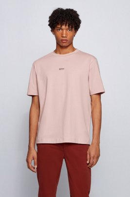 Relaxed-fit T-shirt in stretch cotton with layered logo, light pink