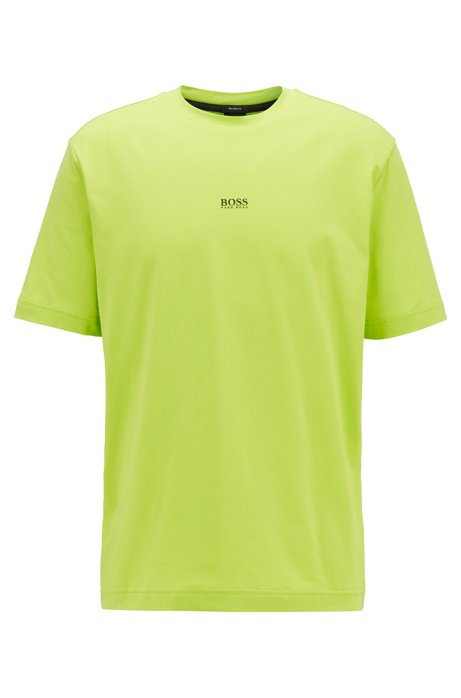 Relaxed-fit T-shirt in stretch cotton with layered logo, Yellow