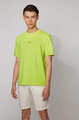 Relaxed-fit T-shirt van stretchkatoen met gelaagd logo, Geel