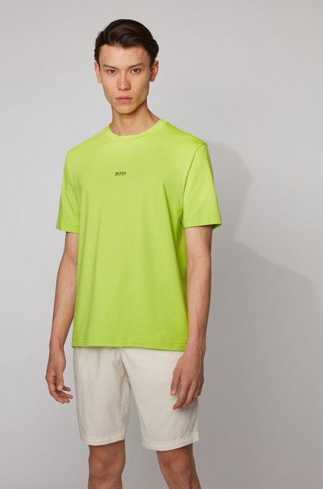 T-shirt relaxed fit in cotone elasticizzato con logo a strati, Giallo