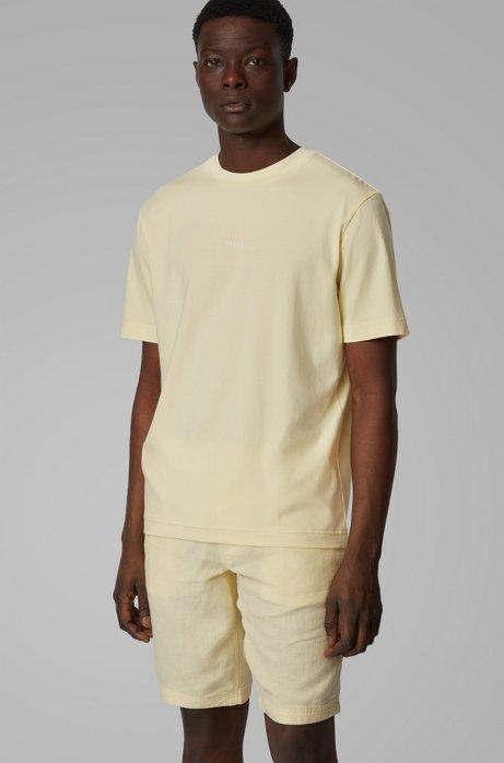 T-Shirt aus Stretch-Baumwolle mit Logo, Hellgelb