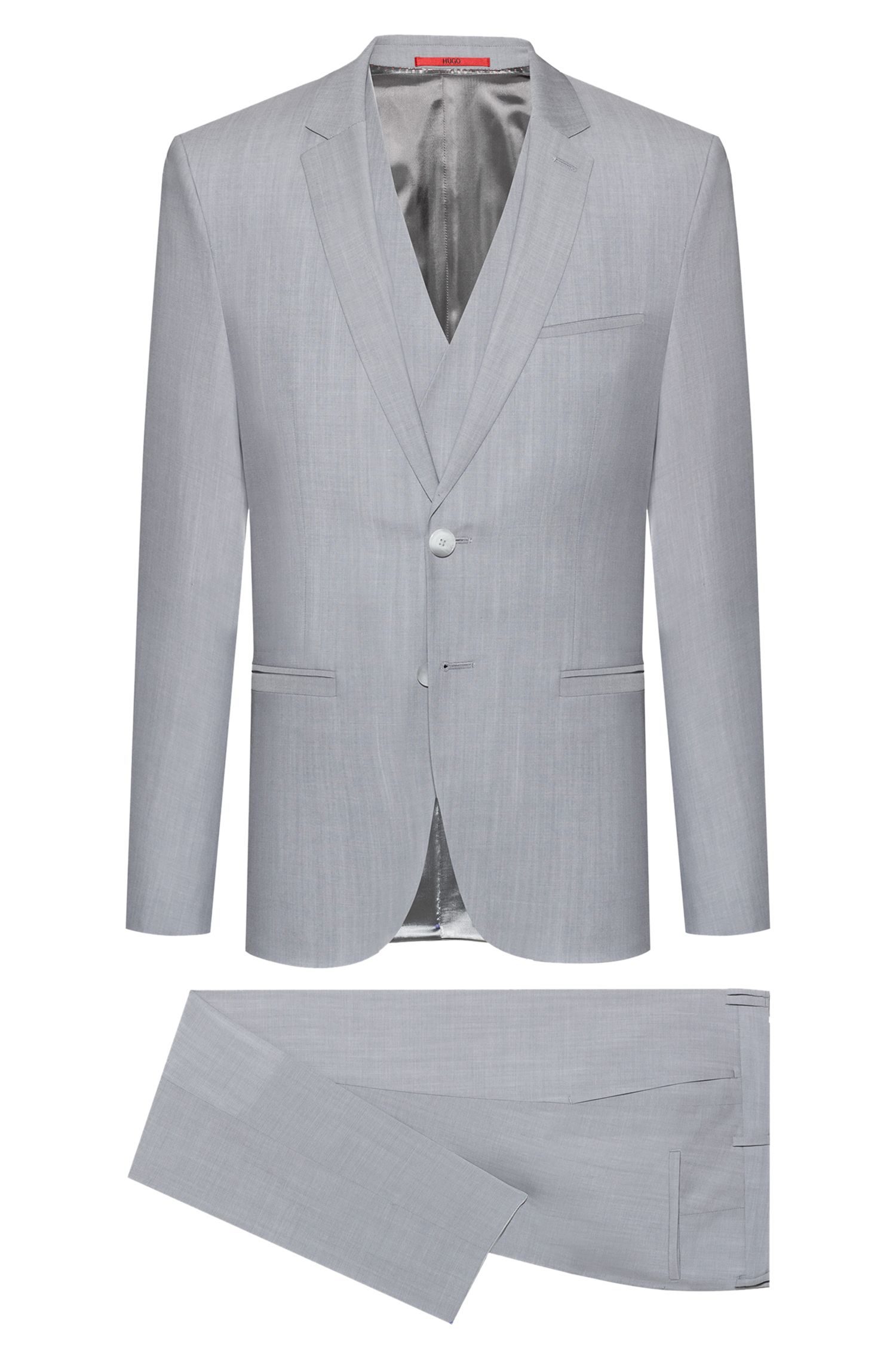 Extra-slim-fit three-piece suit in virgin wool, Light Grey